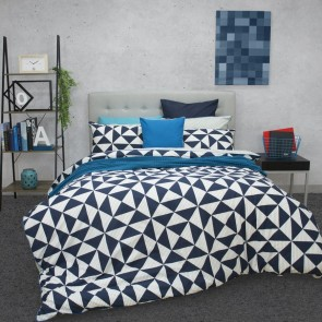 Blaine Quilt Cover Set by Ardor  Navy