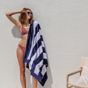 Classic Stripe Egyptian Cotton Navy Beach Towel by Bambury