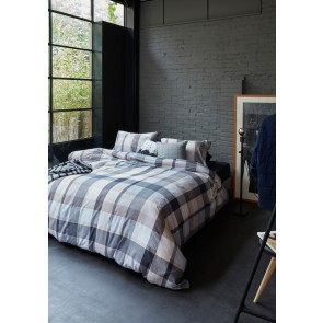 Andes Grey Cotton Percale Quilt Cover Sets by Bedding House