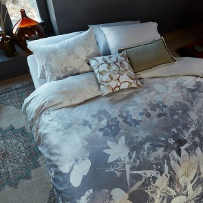 Misty Floral Grey Cotton Sateen Quilt Cover Set by Bedding House