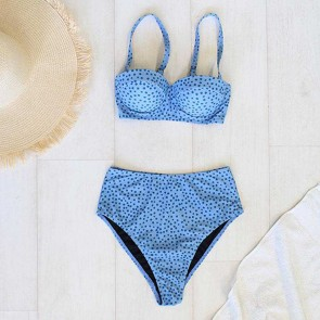 Bikini Set Balconette Tie Side Blue Dot Small by Escape To Paradise