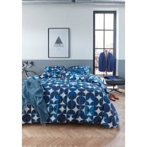 Alster Blue Cotton Percale Quilt Cover Sets by Bedding House