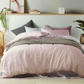 Peach 100% Linen Quilt Cover Set