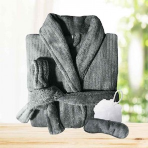 3PC Quick Dry Microplush Bath Robe with Sleeping Mask & Body Sponge Gift Set