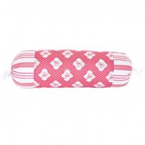 Rasberry Stripe Bolster Cushion by Lullaby Linen
