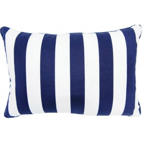 Brighton Blue Stripe Breakfast Cushion by Lullaby Linen
