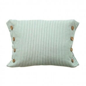 Button Stripe Green Cushion by MM Linen