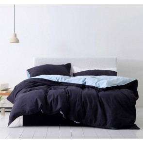 Hue Navy King Quilt Cover Set by Cloth & Clay Linen