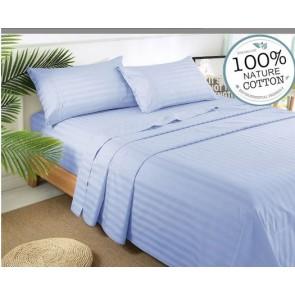 Chambray Stripe 1000TC 100% Egyptian Cotton 4 Piece Fitted Flat Sheet Set