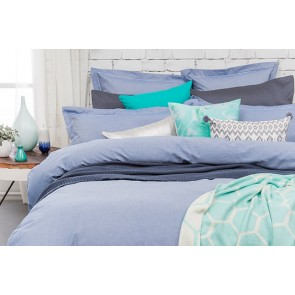 Charleston Blue European Pillowcase by Bambury