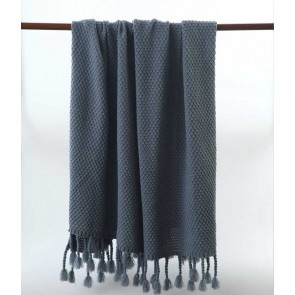 Chunky Slate Blue Throw Rug by MM linen