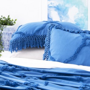 Classic Blue Moroccan 100% Cotton Chenille Vintage washed Tufted Bed Cover set by Park Avenue