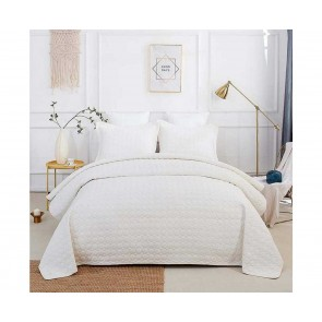 Classic Quilts Embroidered Rich Super King Cream Coverlet
