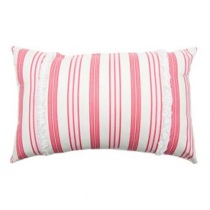 Rasberry Stripe Classic Cushion by Lullaby Linen