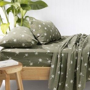 Cocos Olive Flannelette Sheet Set by Bambury