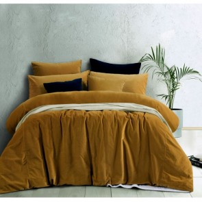 Gold Harmony Cotton Velvet Quilt Cover Set by Vintage Designs