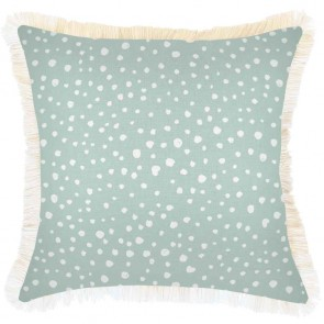 Cushion Cover Coastal Fringe Lunar Pale Mint by Escape To Paradise