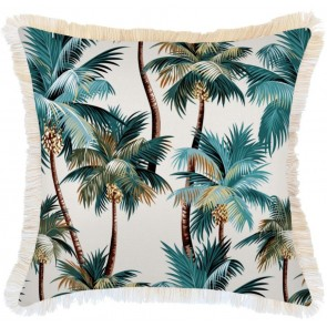 Cushion Cover Coastal Fringe Natural Palm Trees Natural by Escape To Paradise