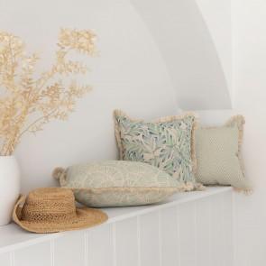 Cushion Cover Coastal Fringe Natural Zig Zag Pale Mint by Escape To Paradise