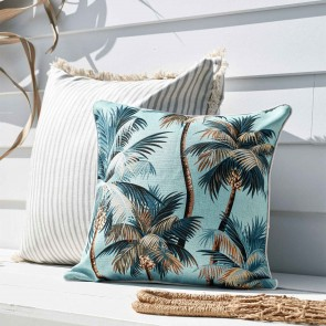 Cushion Cover With Piping Palm Trees Aqua by Escape To Paradise