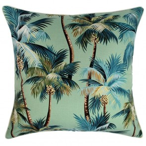 Cushion Cover With Piping Palm Trees Lagoon by Escape To Paradise