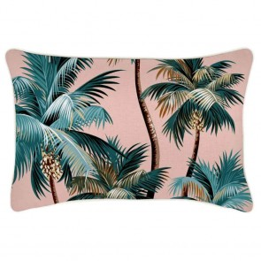Cushion Cover With Piping Palm Trees Sunset by Escape To Paradise