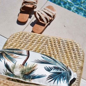 Cushion Cover With Piping Palm Trees White by Escape To Paradise