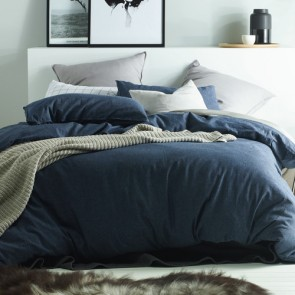 Dark Denim Linen & Cotton Quilt Cover Set  by Vintage Designs