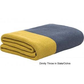 Dimity Slate/Ochre Throw Rug by Bambury