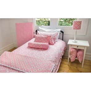 Damask Pink Double Quilt Cover Set by Lullaby Linen