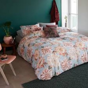 Linen Flower Natural Cotton Percale Quilt Cover Set by Bedding House