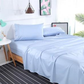 Chambray Blue 1000TC 100% Egyptian Cotton 4 Piece Fitted Flat Sheet Set