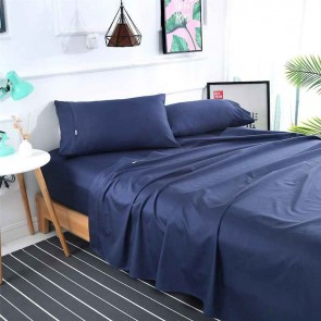 Navy 1000TC 100% Egyptian Cotton 4 Piece Fitted Flat Sheet Set