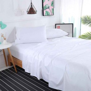 White 1000TC 100% Egyptian Cotton 4 Piece Fitted Flat Sheet Set