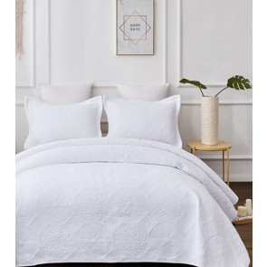 Embroidered Vivid White Bedspread by Classic Quilts