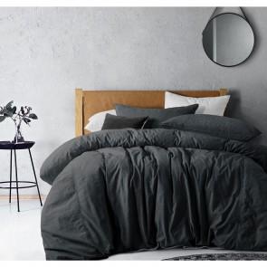 Black Denim Acid Washed Linen Cotton Denim Quilt Cover Sets by Vintage Design