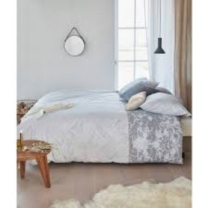 Faye Grey Cotton Percale Quilt Cover Sets by Bedding House