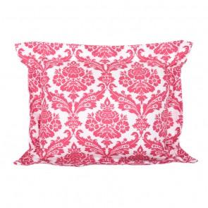 Rasberry Stripe Flange Cushion by Lullaby Linen