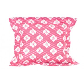 Damask Red Floral Flange Cushion by Lullaby Linen