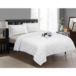 Cotton Jacquard Floral 3 Piece Comforter Set by Kingtex