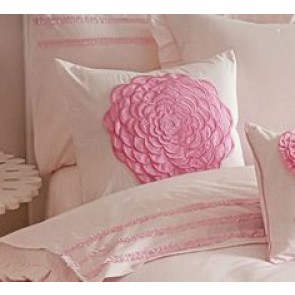 Floret Pink Flowers Filled Cushion by Whimsy