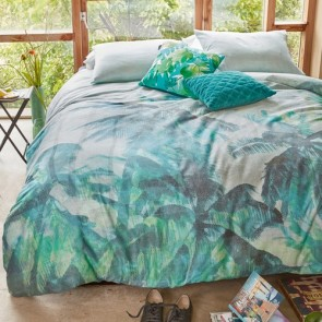 Palmera Green Cotton Sateen Quilt Cover Set by Bedding House