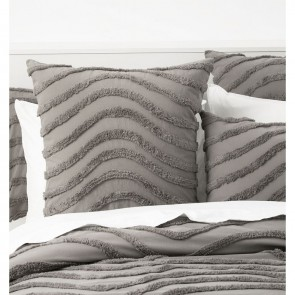 Grey 100% Cotton Wave Chenille Vintage washed tufted Quilt cover Set