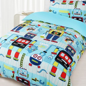 Robots Double Quilt Cover Set by Happy Kids