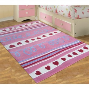 Hearts and Stripes Kids Rug by Unitex