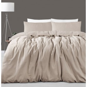 Taupe Linen Cotton Double Quilt Cover Set by Accessorize