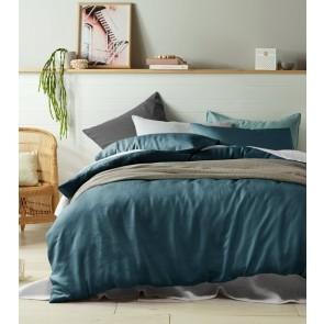 Marine 100% Linen Quilt Cover Set by Vintage Design