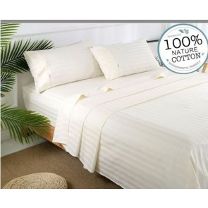 Ivory Stripe 1000TC 100% Egyptian Cotton 4 Piece Fitted Flat Sheet Set