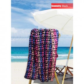 Jacquard Velour Cotton Terry Toweling Beach Towel by Kingtex