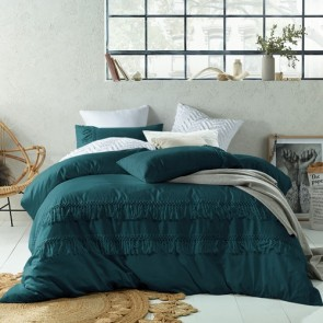 Boho Tassels Linen Cotton Jade Double Quilt Cover Set by Accessorize